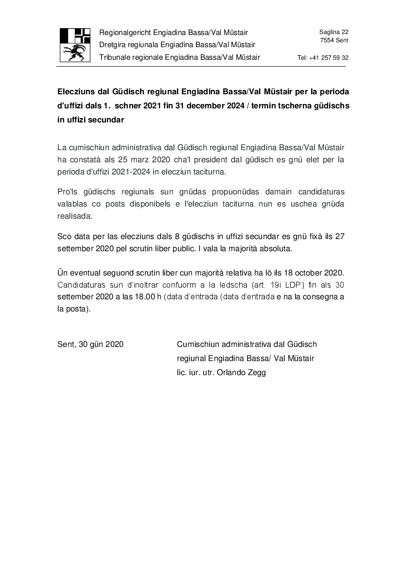 Elecziuns dal Güdisch regiunal Engiadina Bassa/Val Müstair