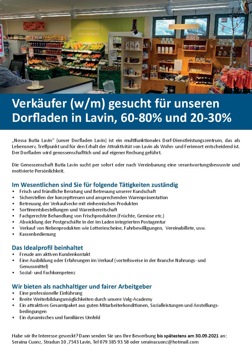 Inserat Verkäufer:in Dorfladen Lavin