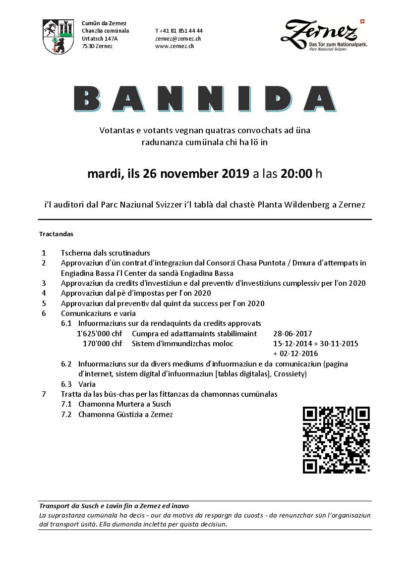 Radunanza cumünala dals 26 november 2019