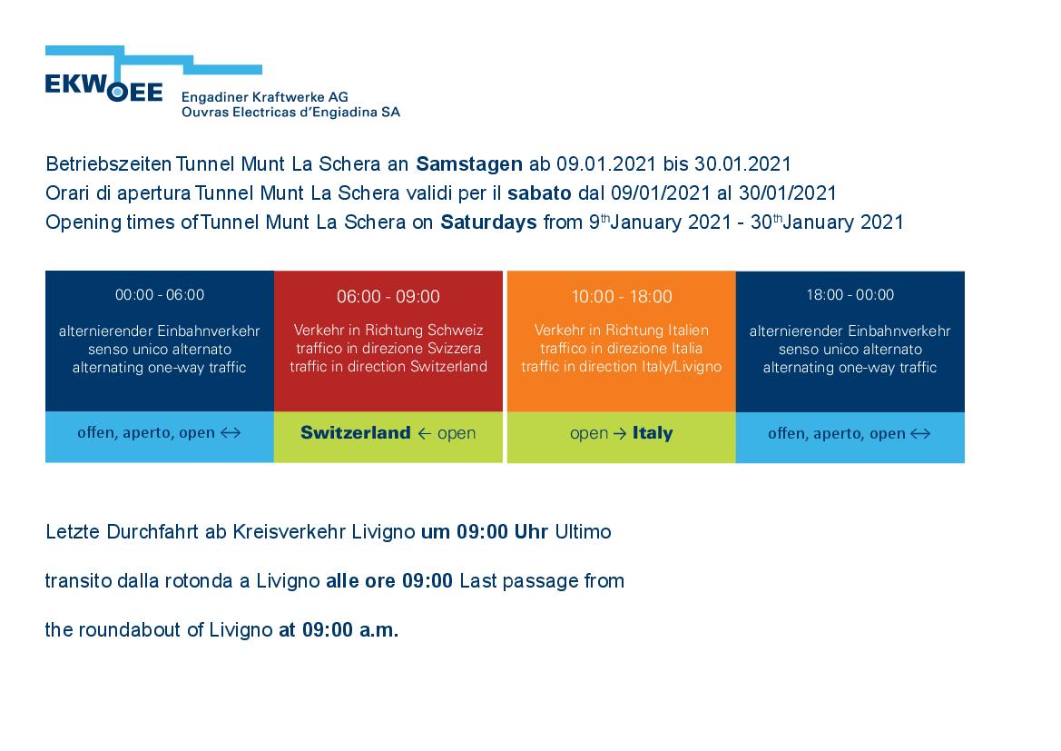 Betriebszeiten Tunnel Munt La Schera an Samstagen