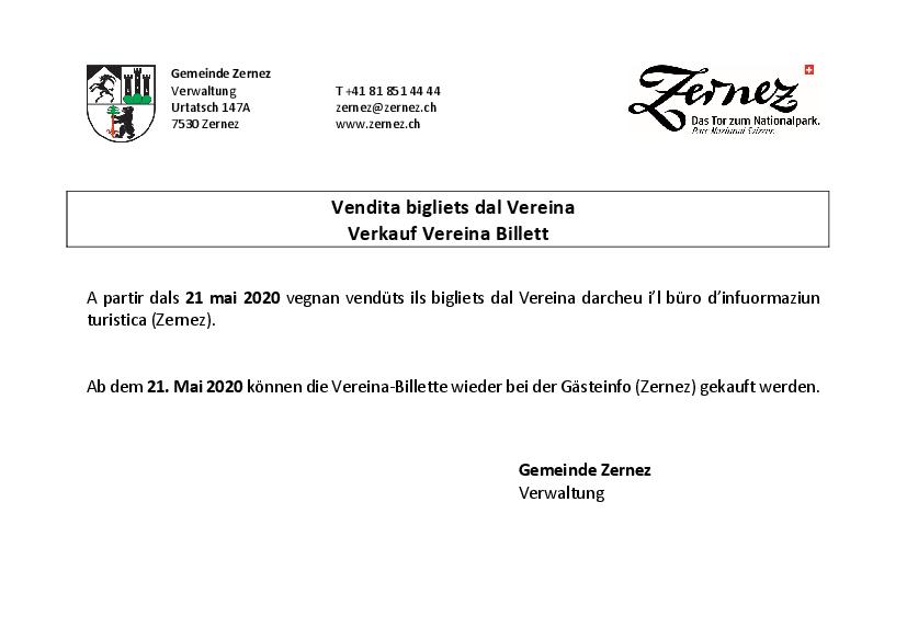 Vendita bigliets Vereina