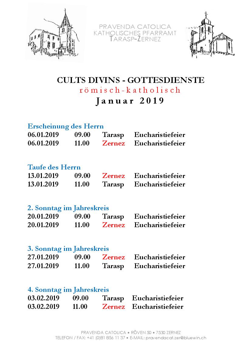 Gottesdienste katholische Kirche - Januar 2019