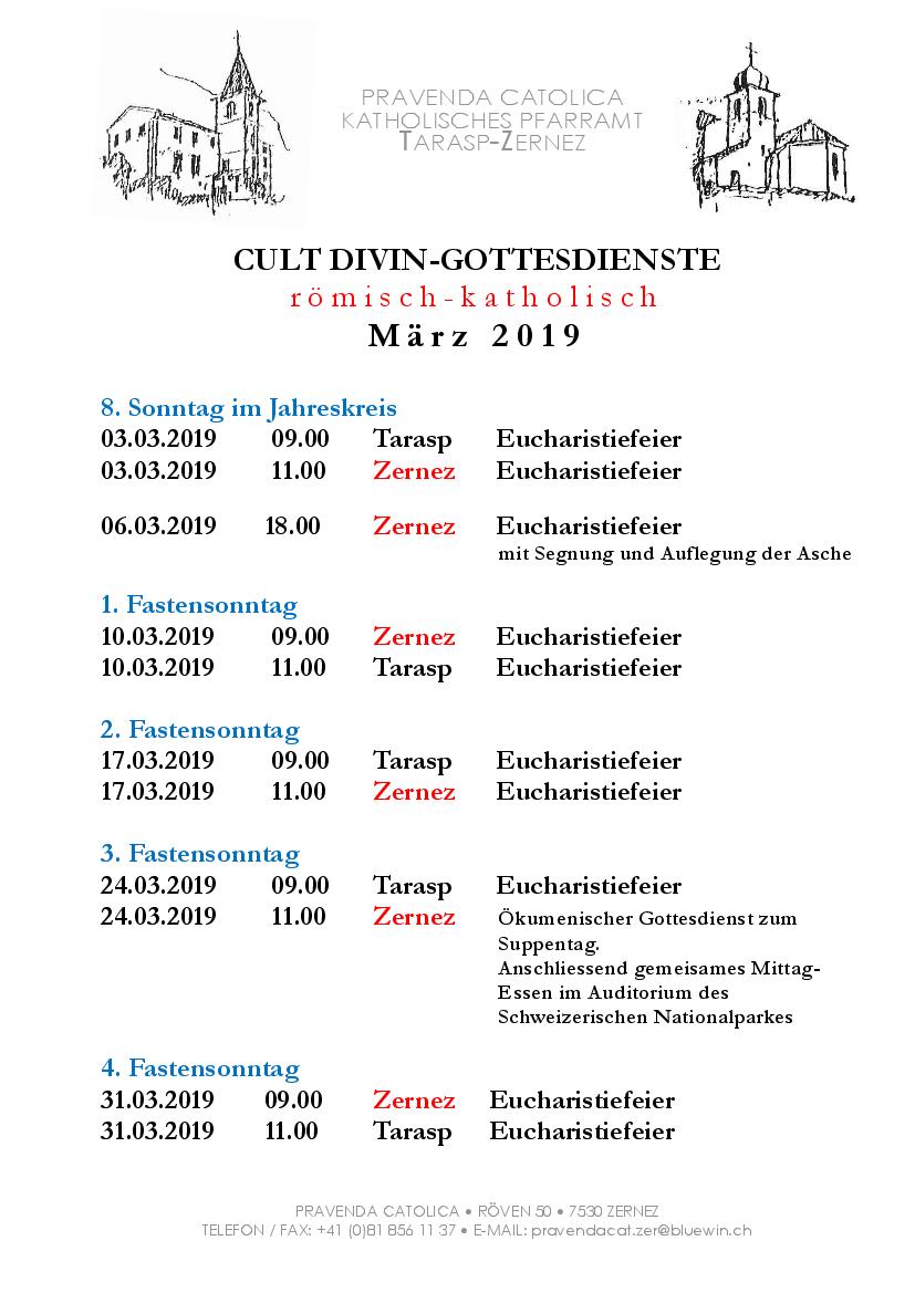 Gottesdienste katholische Kirche - März 2019