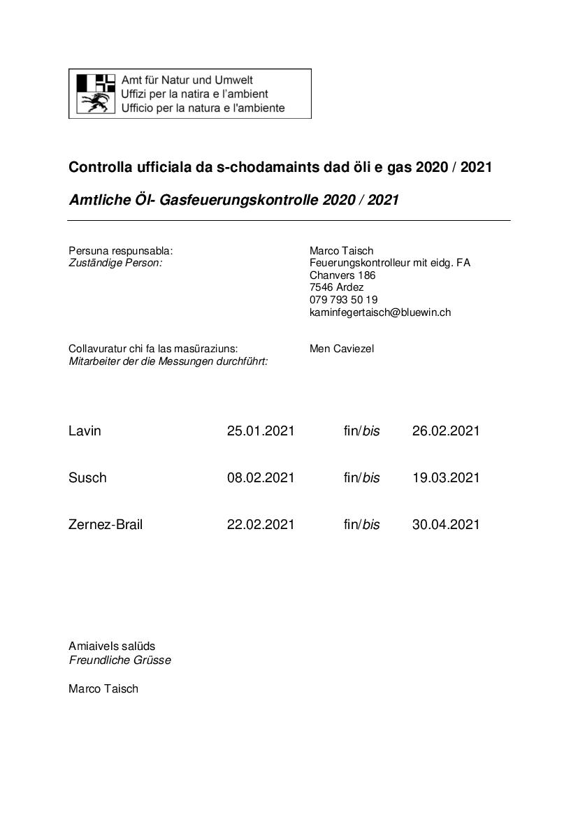 Controlla ufficiala da s-chodamaint dad öli e gas 2020/21