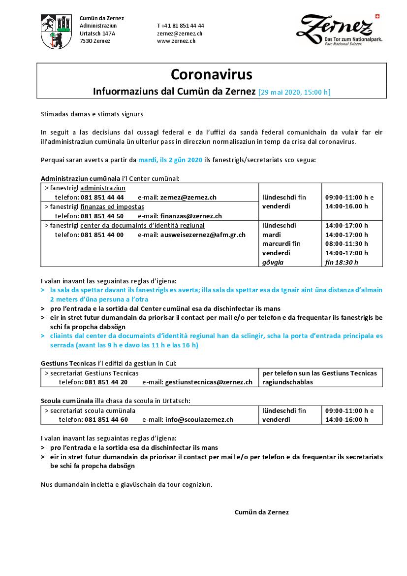 Neue Öffnungszeiten Schalter Gemeinde ab 2.6.2020