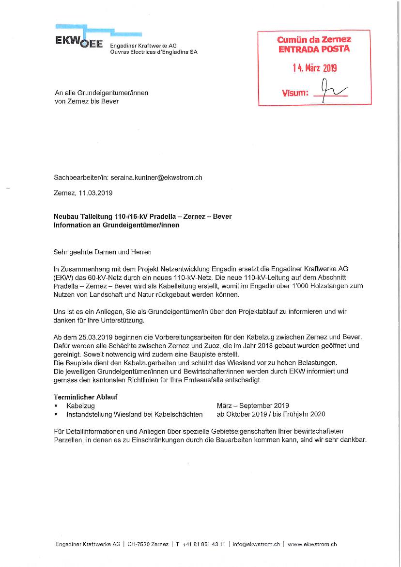 EKW - Info Grundeigentümer - Talleitung Zernez - Bever