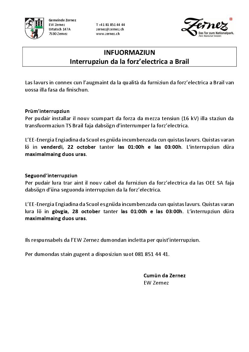 Brail - interrupziuns da forz'electrica - 22 e 28 october 2021