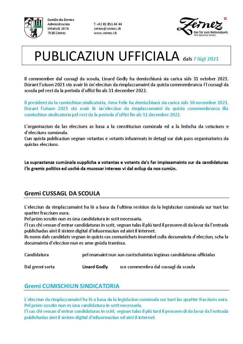 UPDATE 1 - Elecziun da rimplazzamaint - cussagl da scoula e cumischiun sindicatoria - 26 settember 2021
