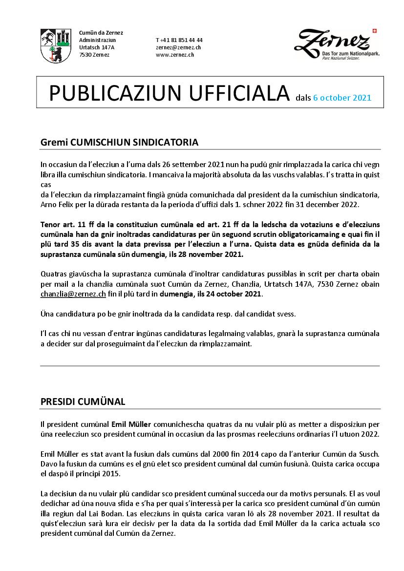 UPDATE 4 - Elecziun da rimplazzamaint - cumischiun sindicatoria e comunicaziun presidi cumünal - 6 october 2021