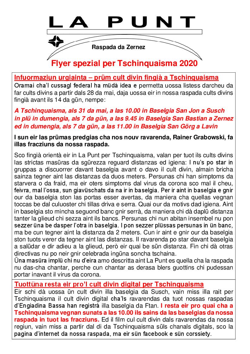 Baselgia - Tschinquaisma 2020