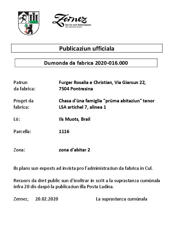 Furger Rosalia & Christian - chasa düna famiglia - parcella 1116 | Brail