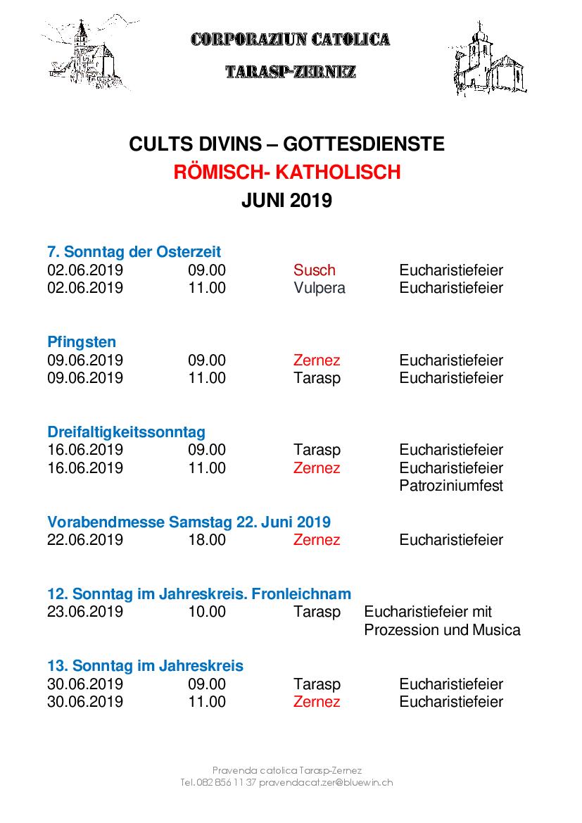 Gottesdienste katholische Kirche - Juni 2019