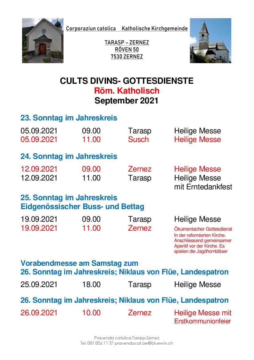 Gottesdienste katholische Kirche - Oktober 2021