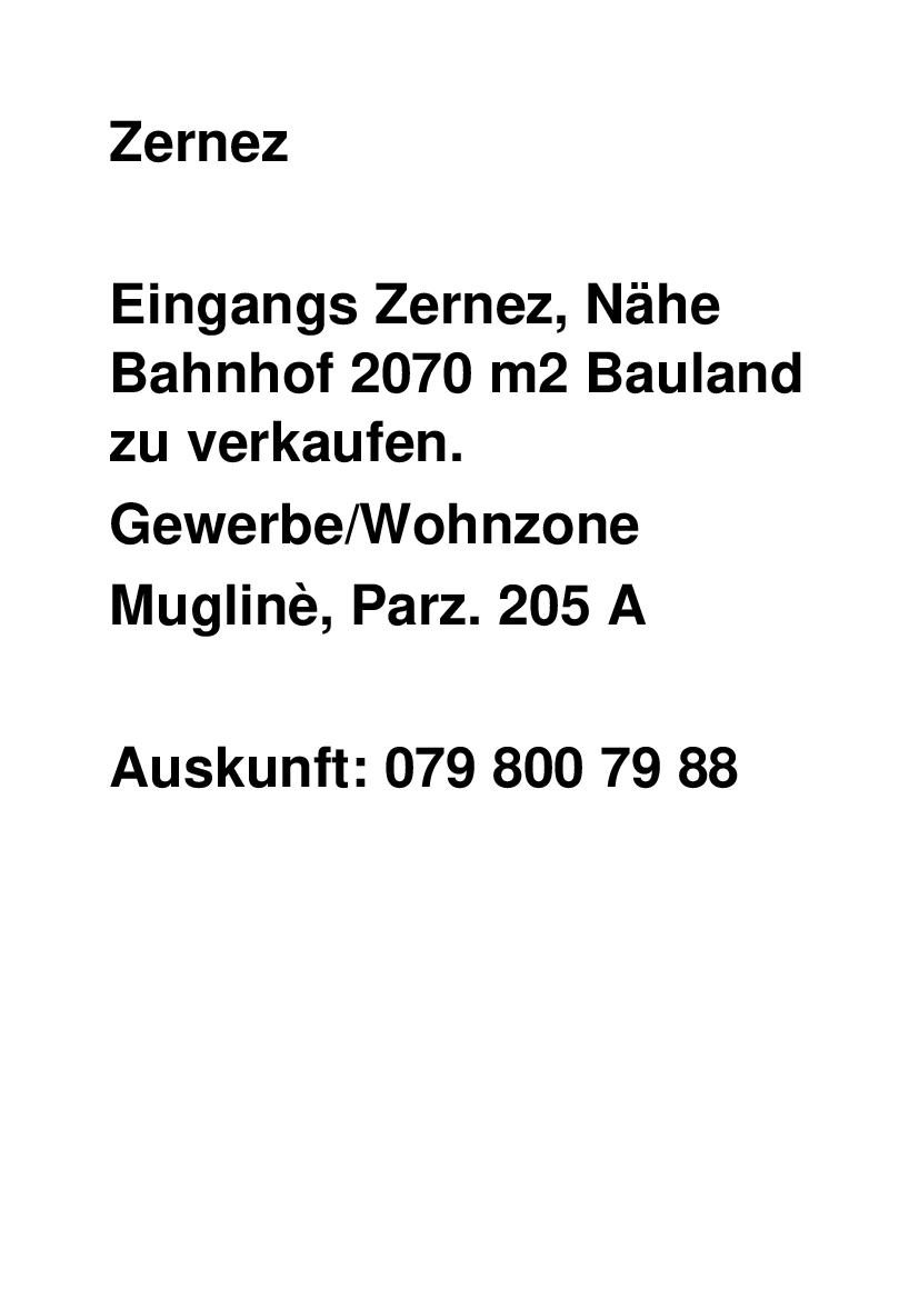 Bauland in Zernez zu verkaufen
