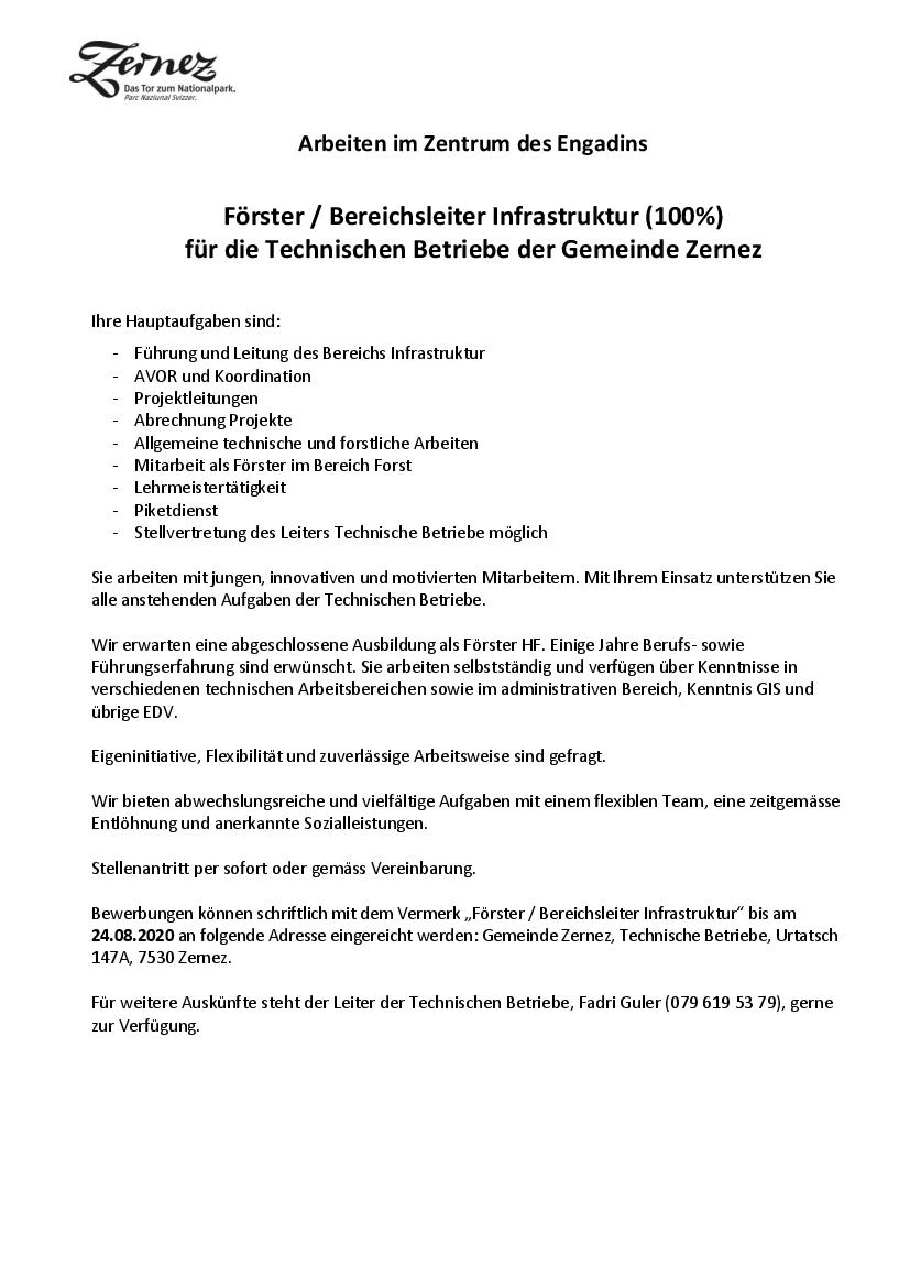 Inserat Förster / Bereichsleiter Infrastruktur (100%)