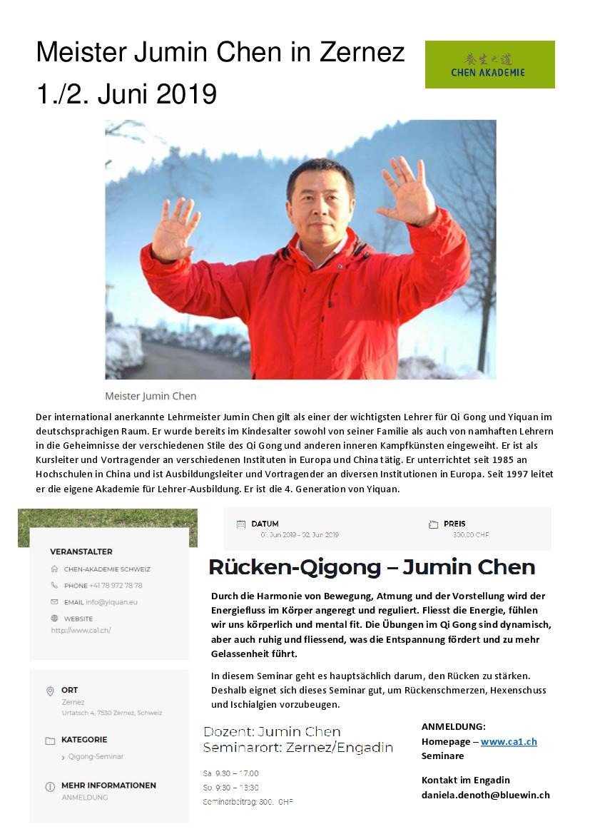 Seminar Rücken-Qigong - Jumin Chen