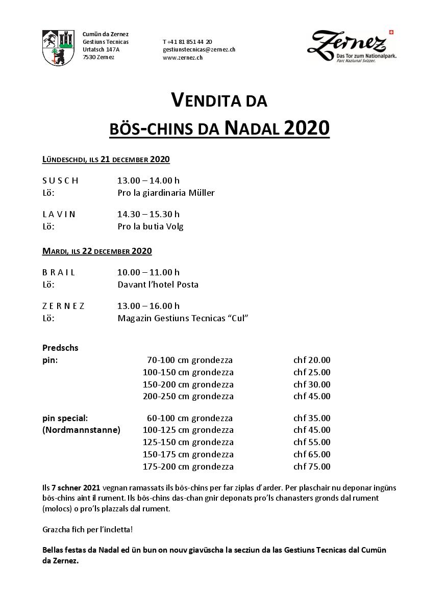 Vendita bös-chins da Nadal 2020