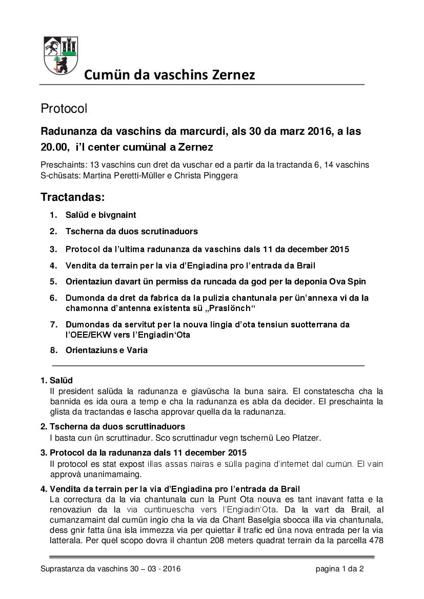 Protocol da la radunanza da vaschins dals 30-3-2016