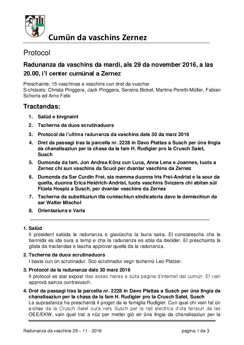 Protocol da la radunanza da vaschins dals 29-11-2016