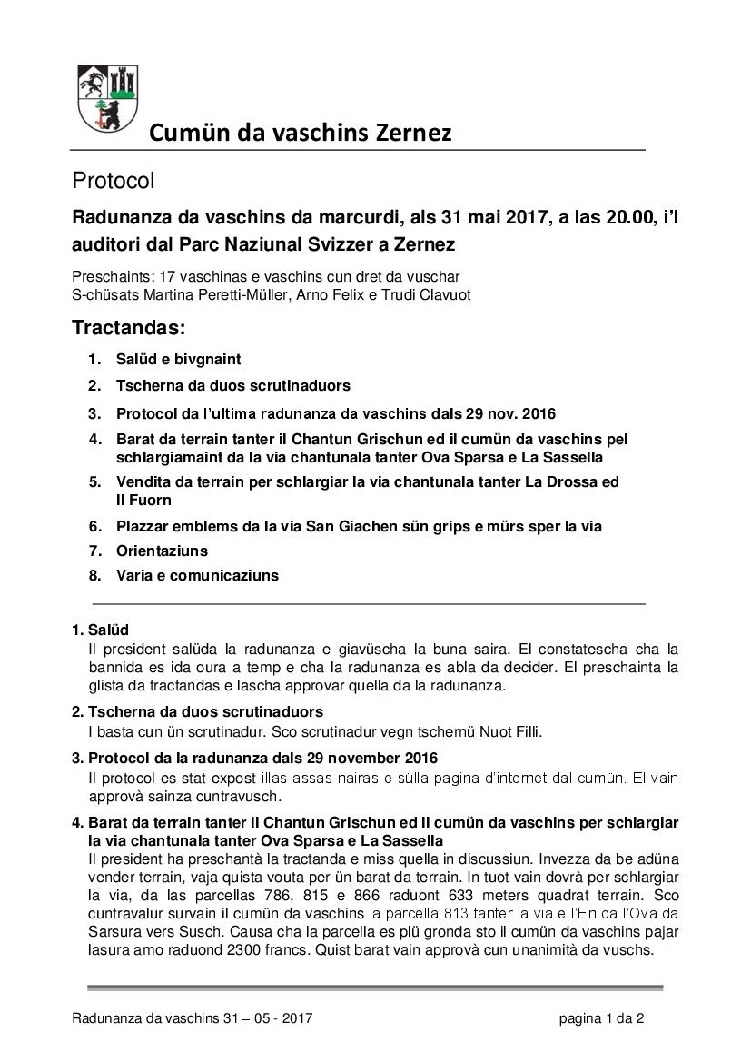 Protocol da la radunanza da vaschins dals 31-05-2017