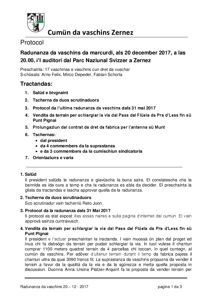 Protocol da la radunanza da vaschins dals 20-12-2017