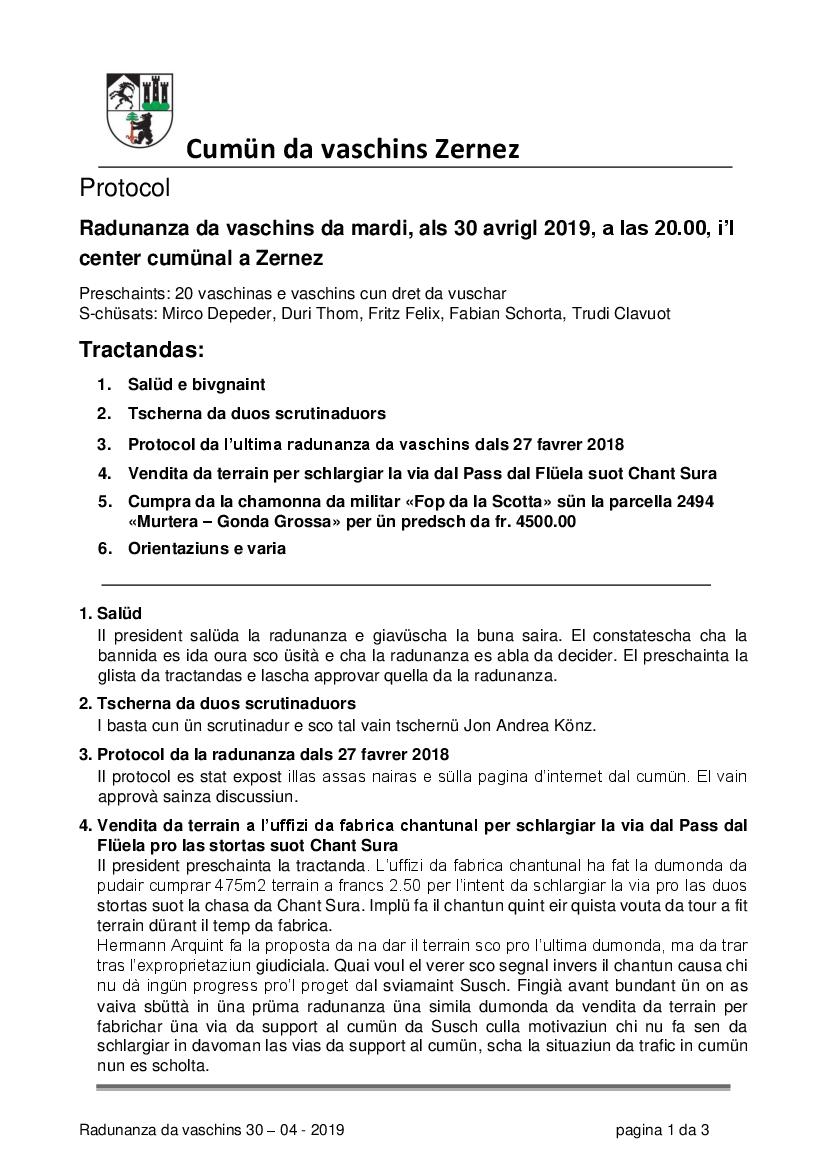 Protocol da la radunanza da vaschins dals 30-04-2019