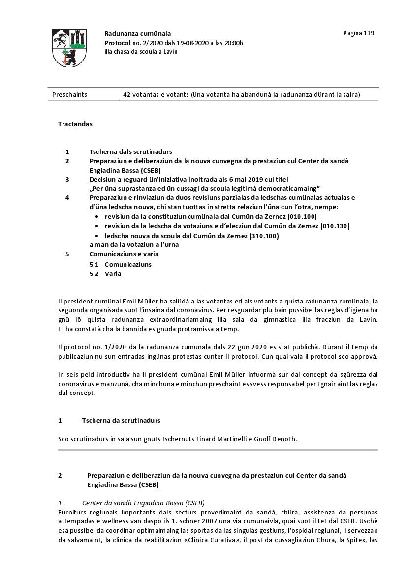 Protocol da la radunanza cumünala dals 19 avuost 2020 - consultaziun
