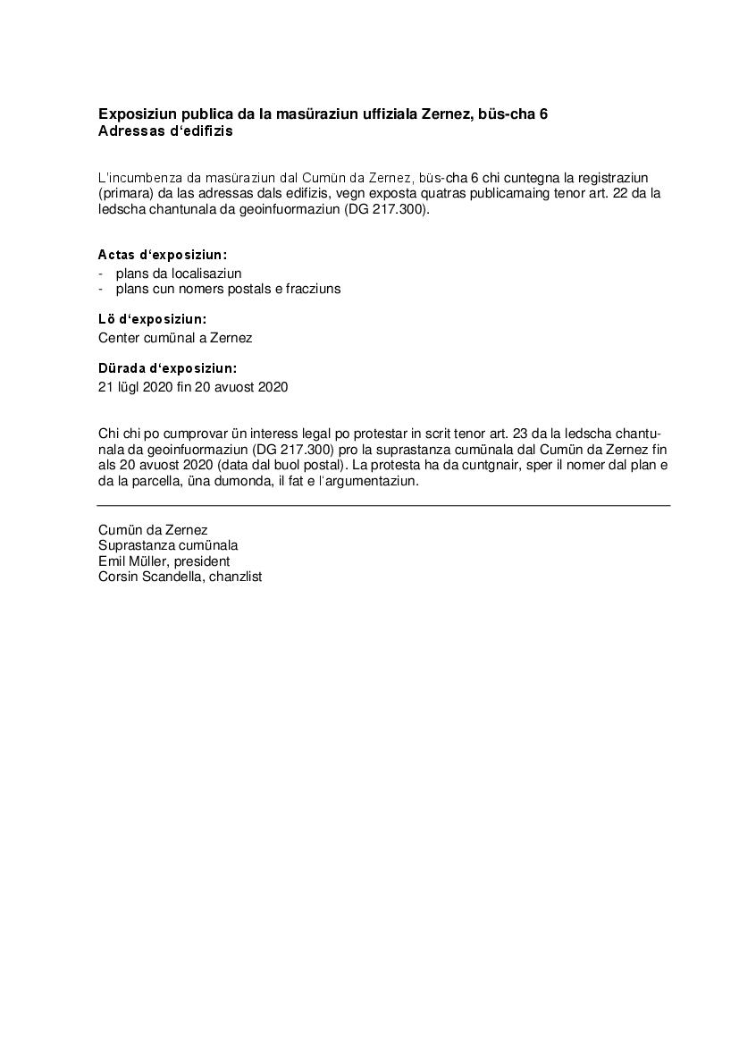 Öffentliche Auflage Gebäudeadressen