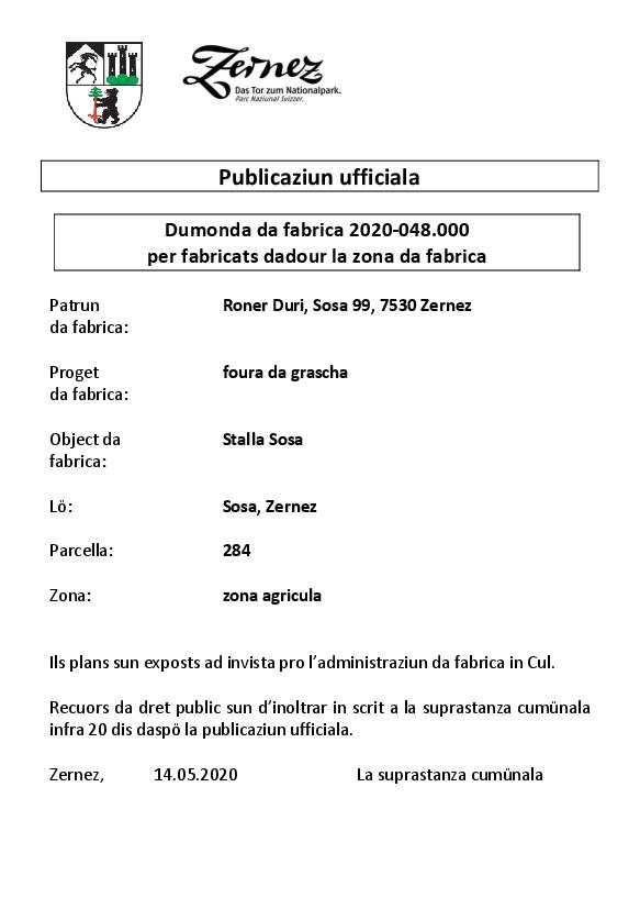 Roner Duri - foura da grascha - parcella 284 - BAB | Zernez