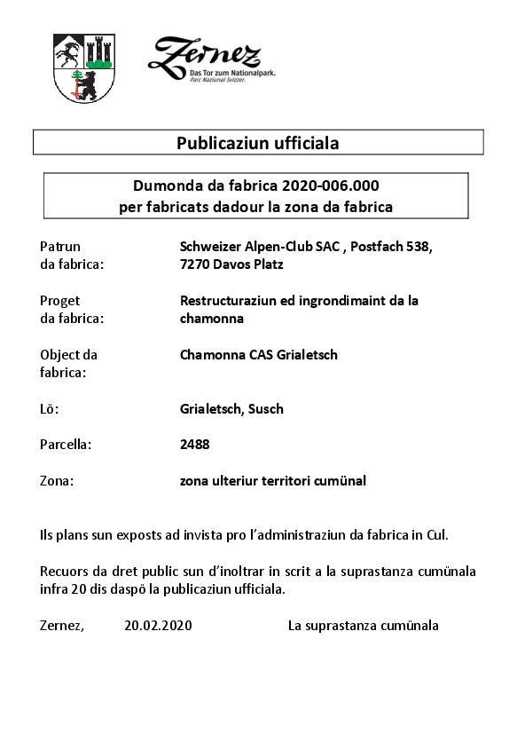 Schweizer Alpen-Club - Chamonna CAS Grialetsch - parcella 2488 -BAB | Susch