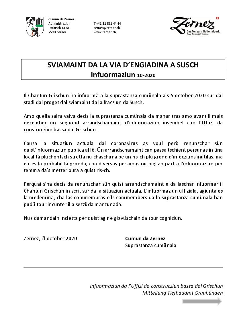 Sviamaint Susch - Info Oktober 2020