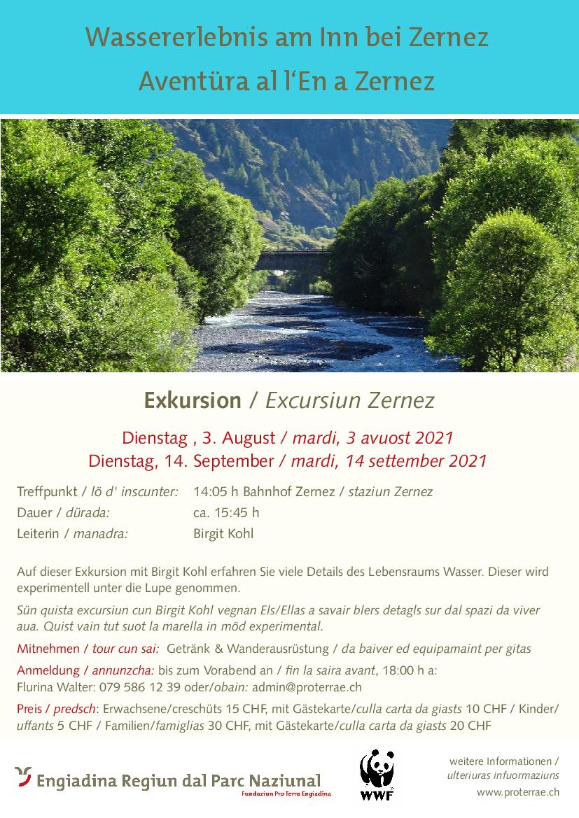Pro Terra Engiadina - Wassererlebnis am Inn bei Zernez