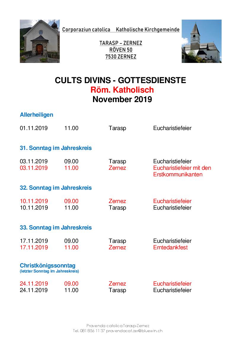 Gottesdienste katholische Kirche - November 2019