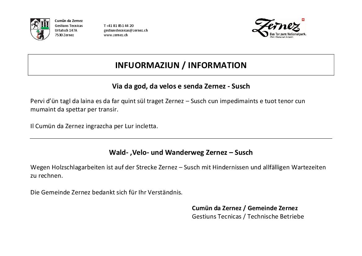 Via da god, da velos e senda Zernez-Susch