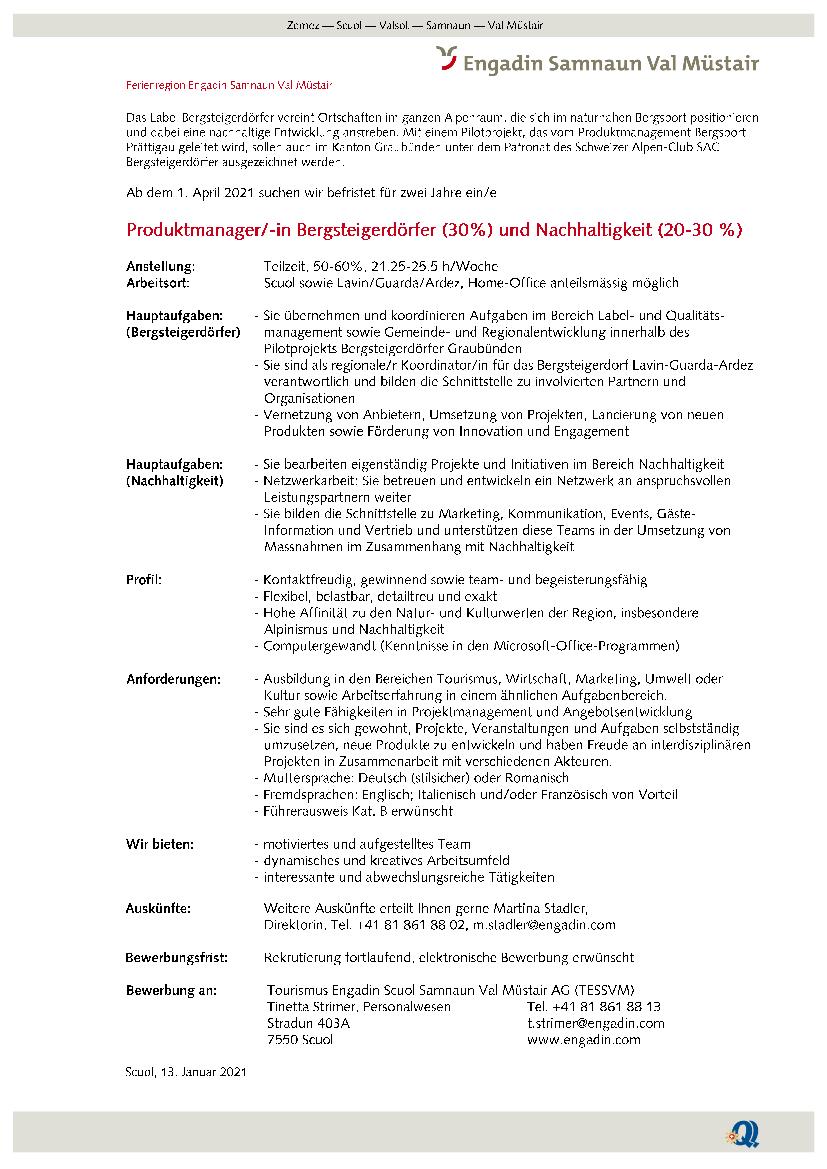Inserat Produkmanager/-in Bergsteigerdörfer